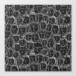 Black & White Hand Drawn People Pattern Canvas Print