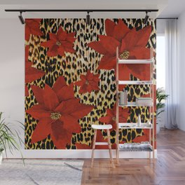 Animal Print Leopard and Red Poinsettia Wall Mural