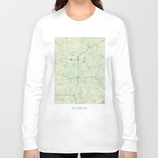 Atlanta Map Blue Vintage Long Sleeve T-shirt