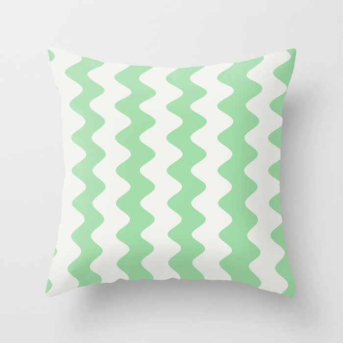 Pastel Mint Green & Linen White Wavy Vertical Rippled Stripe Pattern Pairs to 2020 Color of the Year Throw Pillow