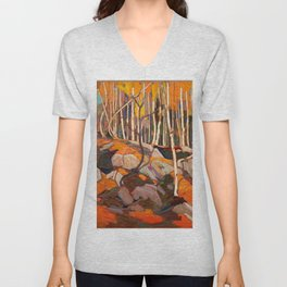 Tom Thomson ‑ Birch Grove, Autumn - Canada, Canadian Oil Painting - Group of Seven Unisex V-Neck