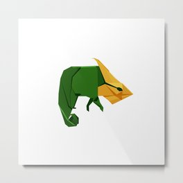 Origami Chameleon Metal Print