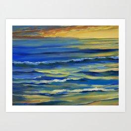 Huntington Beach at Sunset 1 Art Print