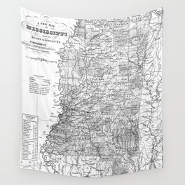Vintage Map of Mississippi (1853) BW Wall Tapestry