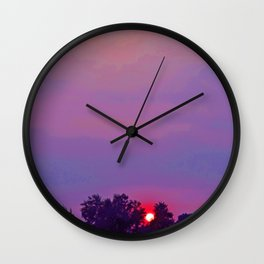 """""""Sultry Day Sunset"""" with poem: Stay Wall Clock"""