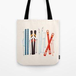 Retro Ski Illustration Tote Bag