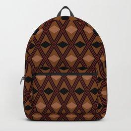 Black and brown rhombus geometric pattern Backpack