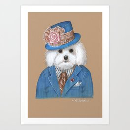 Maltese. Dandy in Love Art Print