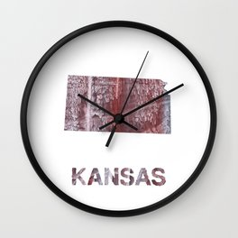 Kansas map outline Gray red clouded aquarelle Wall Clock