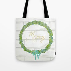 Merry gold and blue boxwood Christmas wreath Tote Bag