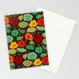 Nasturtiums & Snails On Brown Stationery Cards