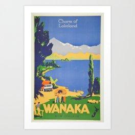 Vintage Wanaka New Zealand Lakeland Travel Art Print
