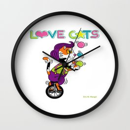 Unicycle Juggler from Love Cats by Eric M. Rangel Wall Clock