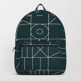 My Favorite Geometric Patterns No.8 - Green Tinted Navy Blue Backpack