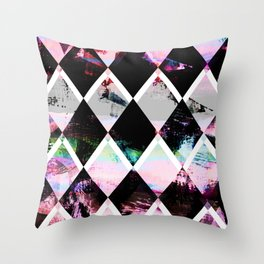 black and pastel colored geometric pattern Throw Pillow