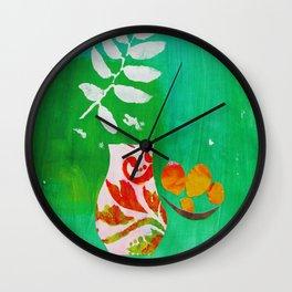 Fern & Peaches Still Life Wall Clock