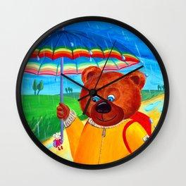 Rain Walk | Best Friends: Bear & Mousie  Wall Clock