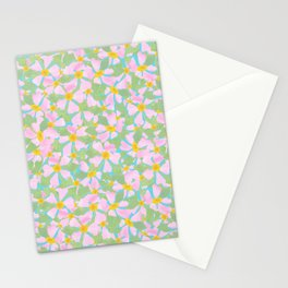 Pink Dogrose Flowers on Sky Blue Stationery Cards