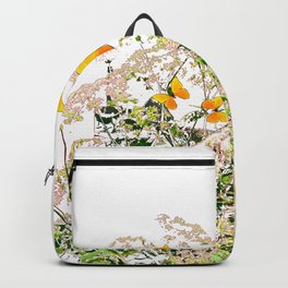 WHITE ART GARDEN ART OF YELLOW BUTTERFLIES Backpack