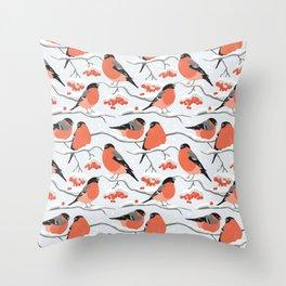 Bullfinches on rowan branches Throw Pillow