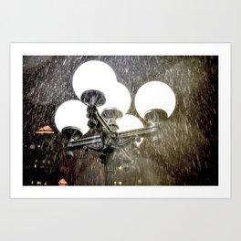 Union Square NYC rainy night. Art Print