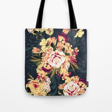 Roses and lilac. Beautiful victorian design on blue Tote Bag