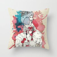 marie antoinette Throw Pillows featuring Marie Antoinette by Phie Hackett