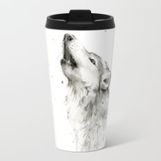 Wolf Howling Watercolor Wildlife Painting Travel Mug