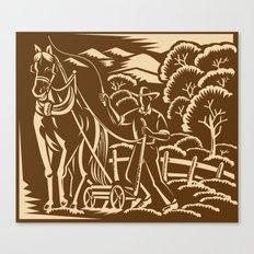 Farmer Farming Plowing With Farm Horse Retro Canvas Print