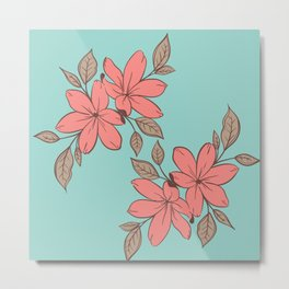 pink flowers background blue livingroom art Metal Print