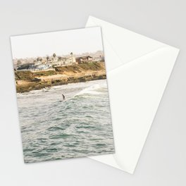 Braving the Surf Mission Beach San Diego California Stationery Cards