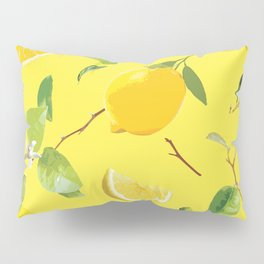 Watercolor Lemon & Leaves 3 Pillow Sham
