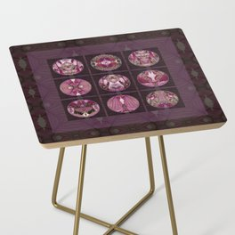 Red Shiso Positive Messages Quilt Art Side Table