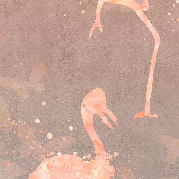 Flamingo Butterfly watercolor pastel grey apricot color artwork Leggings