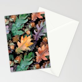 Colorful Woodland Watercolor Oak And Acorn Pattern Stationery Cards