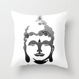 Buddha Head grey black white background Throw Pillow