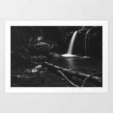 Minimalistic waterfall behind broken tree in black and white Art Print