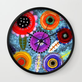 Blue Asia Blooming  Wall Clock