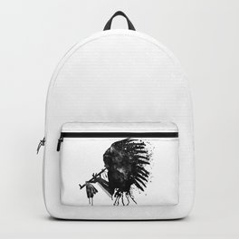Indian with Headdress Black and White Silhouette Backpack