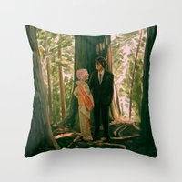 sasuke Throw Pillows featuring between the trees by baasama