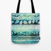 floral Tote Bags featuring Dreamy Tribal Part VIII by Pom Graphic Design