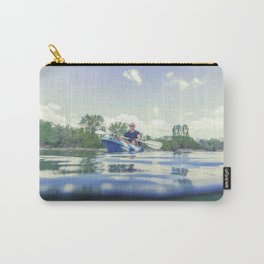 Young Man Kayaking on Lake, Kayaking Underwater View, Split Shot. Carry-All Pouch