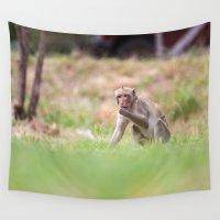 thailand Wall Tapestries featuring Monkeys of Thailand by Marcel Derweduwen