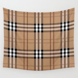 Classic Vintage Brown Check  Tartan Wall Tapestry