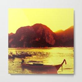 Thailand Koh Samui Boat Trip Travel Sunset Metal Print
