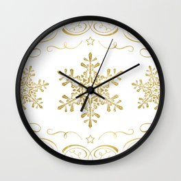 Ornate Golden Snowflakes Wall Clock