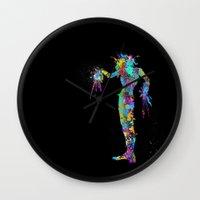 edward scissorhands Wall Clocks featuring Edward Scissorhands by AHDessins