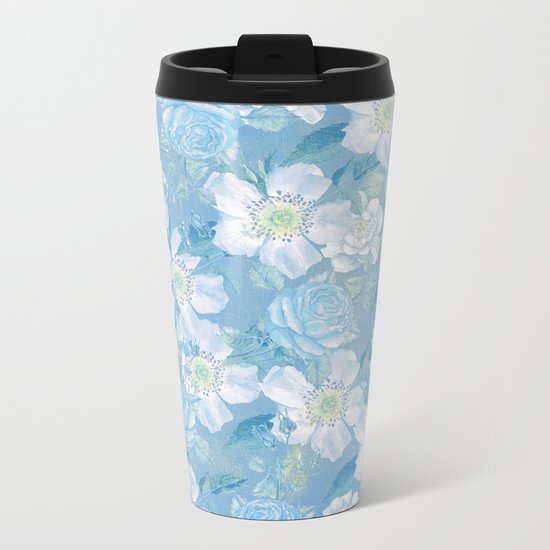 Blue Vintage Rose Pattern Metal Travel Mug