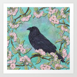 Raven and Apple Blossom Art Print
