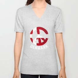 Denmark Peace Sign Shirt Unisex V-Neck